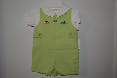 Green Gingham Romper with Cars  36-00522,523