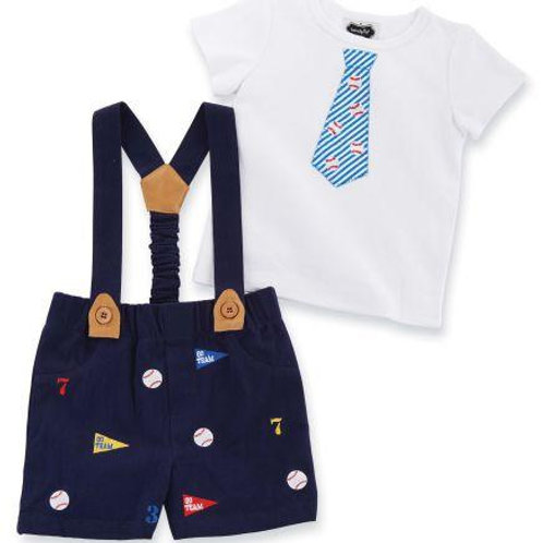 Baseball and Suspender Shorts Set by Mud Pie