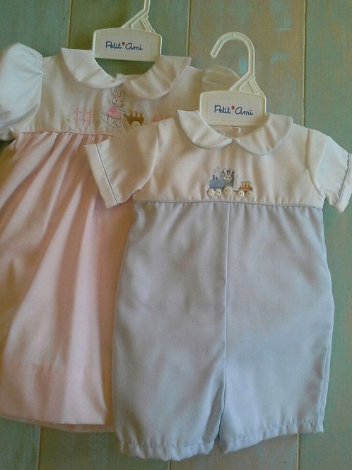 Petit Ami Pink/White Bunny Dress 36-00664