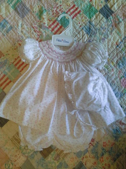 Smocked Rosebud Dress w/Bonnet 36-00626