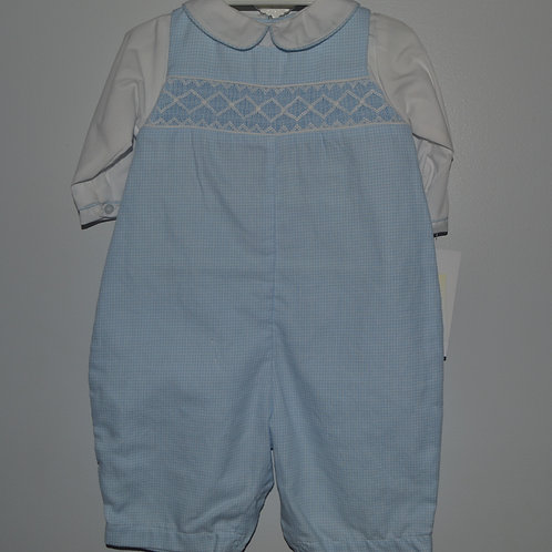 Smocked Blue Gingham Longall  36-00460