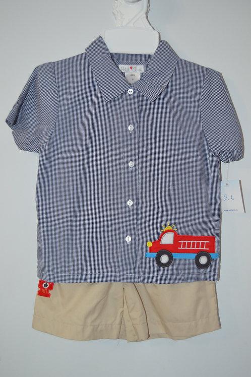 Petit Ami Firetruck Shirt/Short 36-000709
