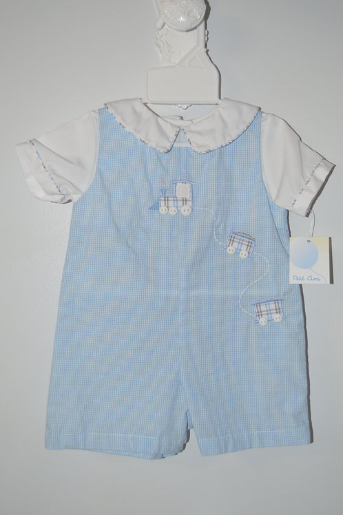 Blue Romper w/Plaid Train 36-00700