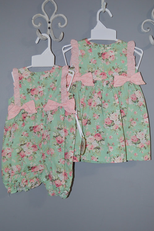 Green Floral Dress with Side Bows 36-00715