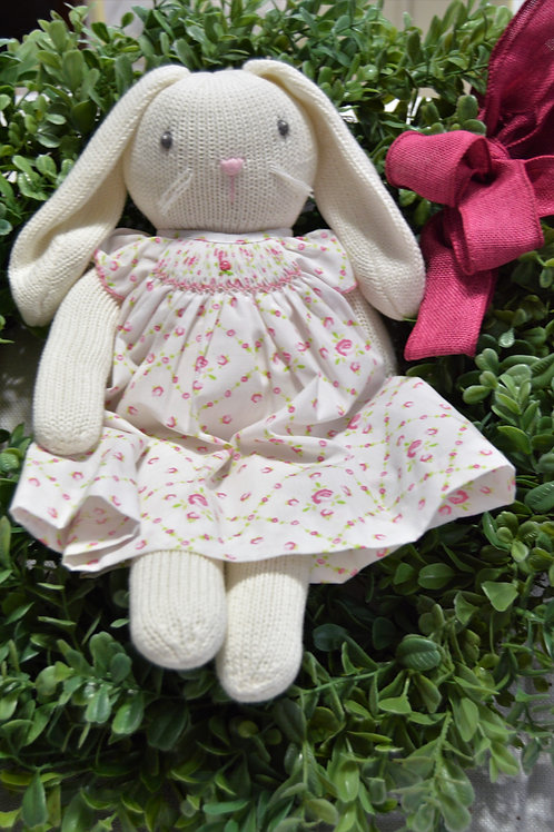 Rabbit in  white/pink floral dress 36-00705