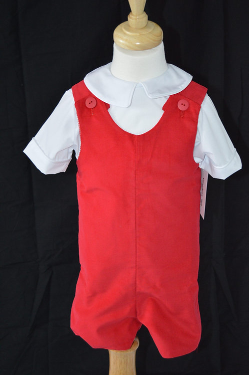 Red Corduroy Shortall From Timeless Tots 36-186