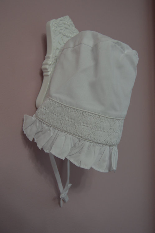 Smocked White Bonnet 36-00391