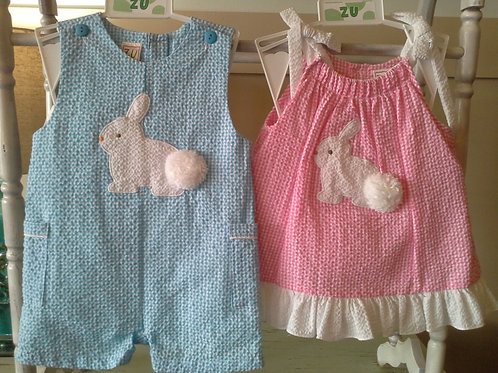 Pink Seersucker Bunny Dress  36-0540,541