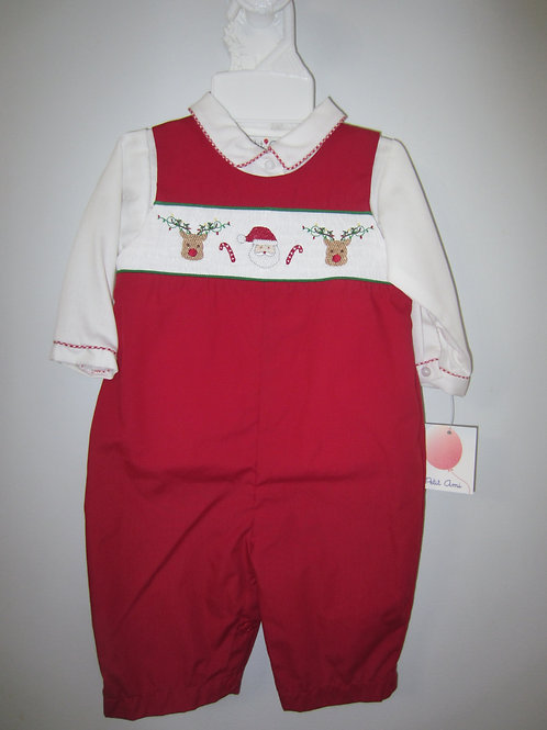 Red Cotton Smocked Santa Longall 36-00676B