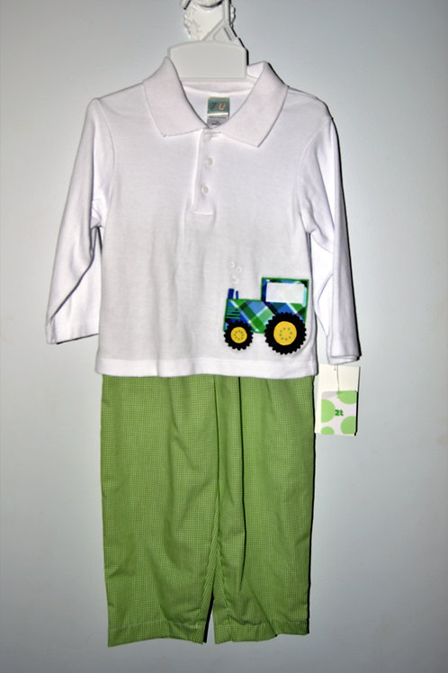 Green Gingham Tractor Pant Set 36-00486