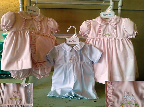 Blue Romper with Bunny Embroidery  36-00524