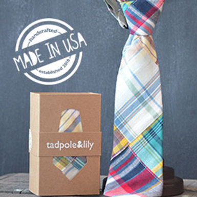 Madras Necktie by Tadpole and Lily