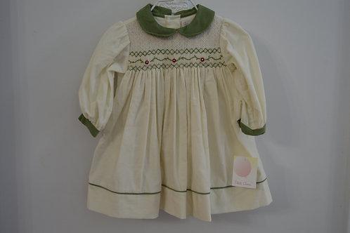 Corduroy Cream/Green Smocked Dress 36-00420