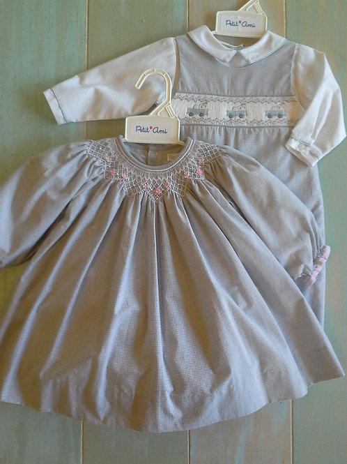 36-00681 Petit Ami Grey Gingham Smocked Dress