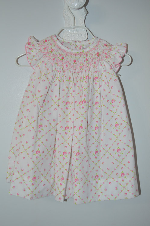 White/Pink Floral Smocked Dress 36-00704