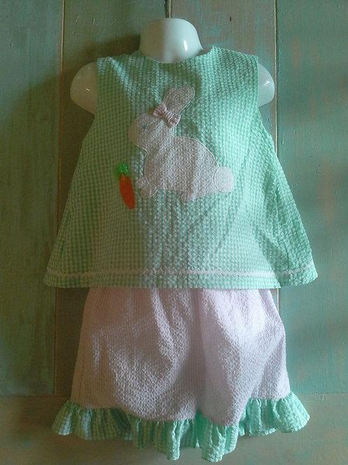 Green Seersucker Bunny Outfit 36-00620