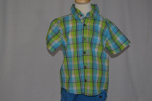 Traveler Lime/blue checked shirt  32-0305