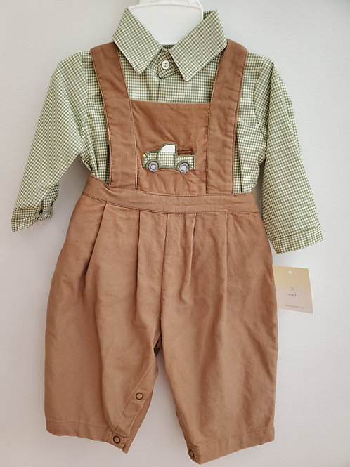 36-00678 Petit Ami Brown overalls with Green Gingham Shirt