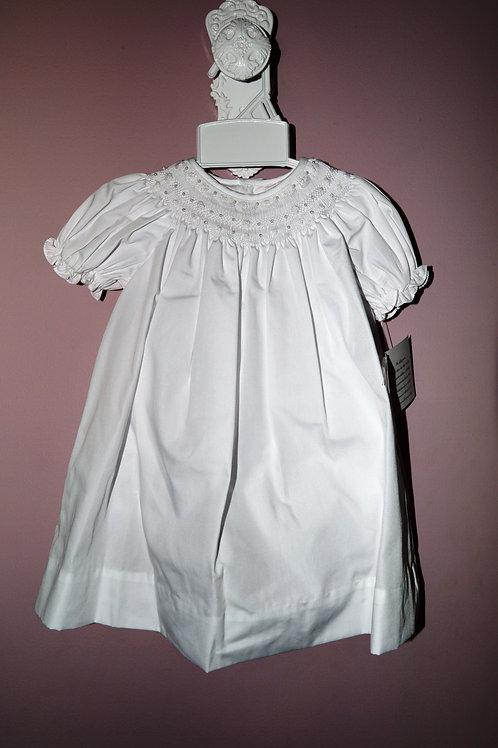 Petit Ami White Smocked Bishop Dress 36-00501