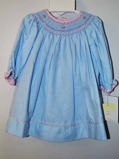 Blue Gingham Smocked Dress LS 36-00464/470