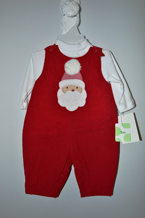 Red Corduroy Longall with Santa Applique  36-00449