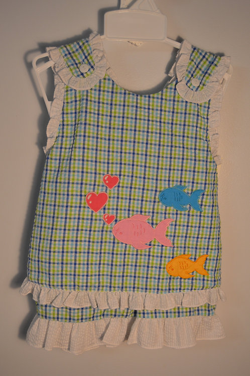 Blue/Green Plaid Fish Short Set 36-00714