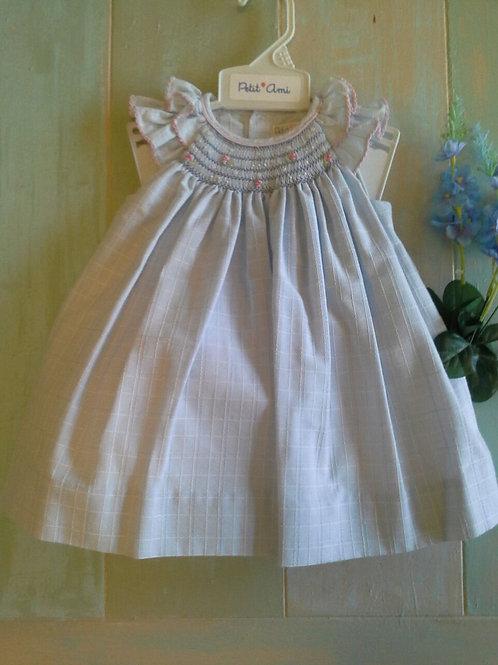 Petit Ami Blue Smocked Sleeveless Dress 36-00612
