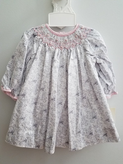 Petit Ami LS Gray Floral Smocked Dress 36-00656