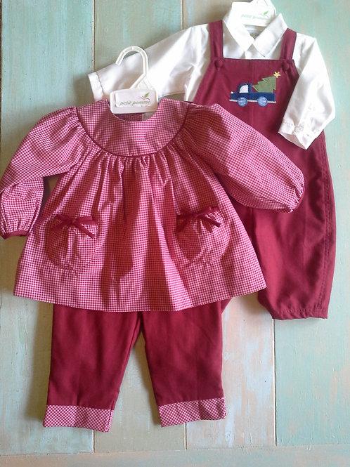 43-00672 Petit Pomme Burgandy Girls 2 Piece Pant Set