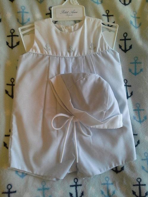 Petit Ami Pale Blue Anchor Sunsuit  36-0645