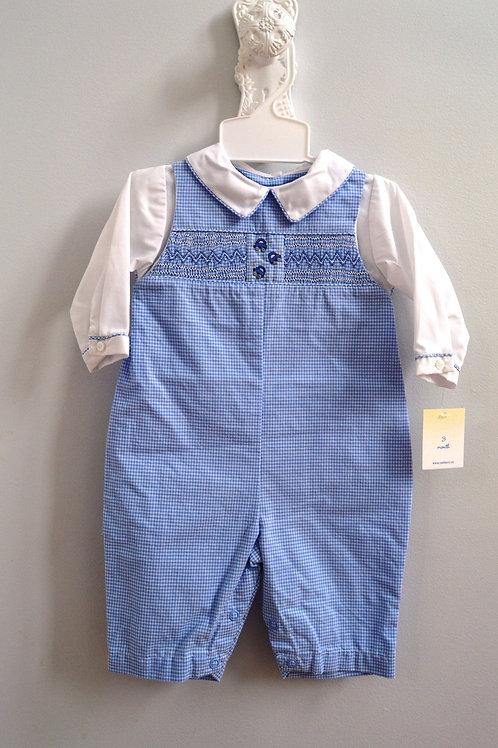 Petit Ami Blue Gingham Smocked Longall 36-579,580