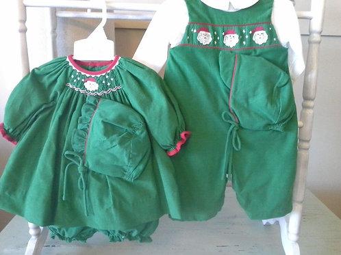 Petit Ami Green Corduroy Smock Santa Dress 563,564,565,566