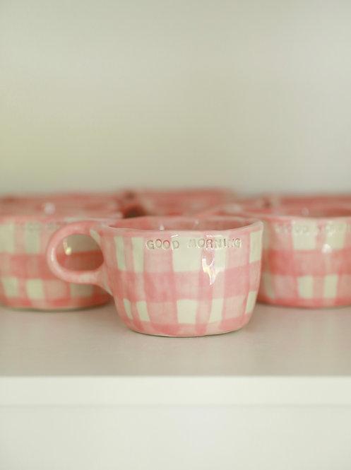 good morning mug - pink gingham