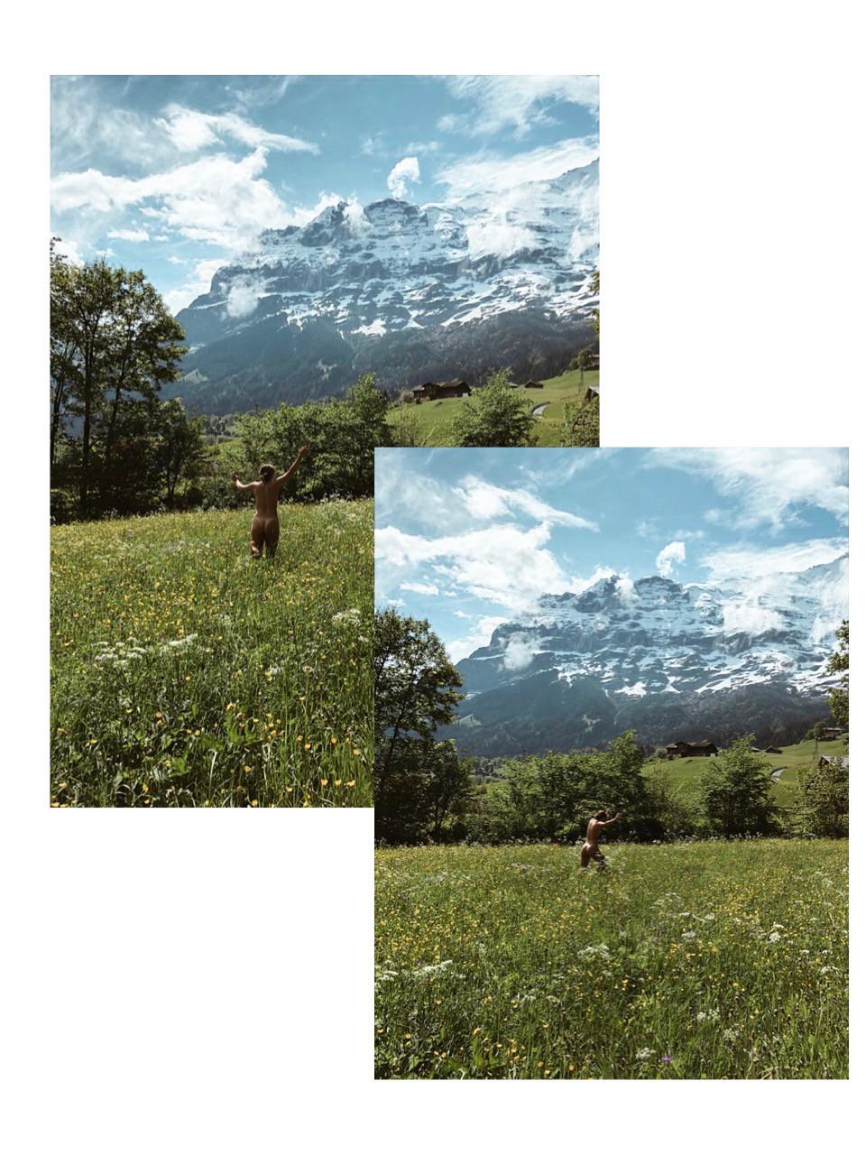 Naked Running Paddock Switzerland Grindelwald