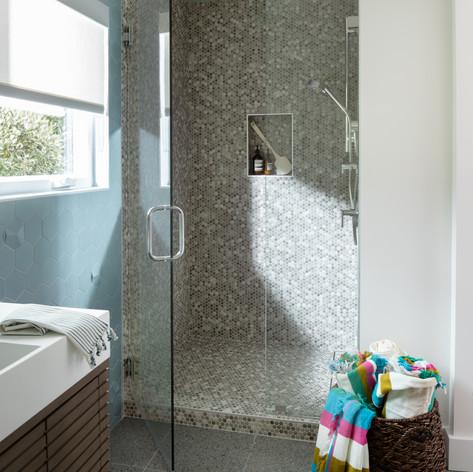 Modern Coastal Pool House Bathroom