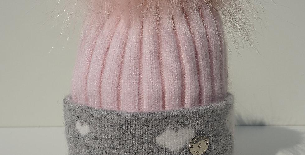 Kids Pale Pink Hearts Single Hat