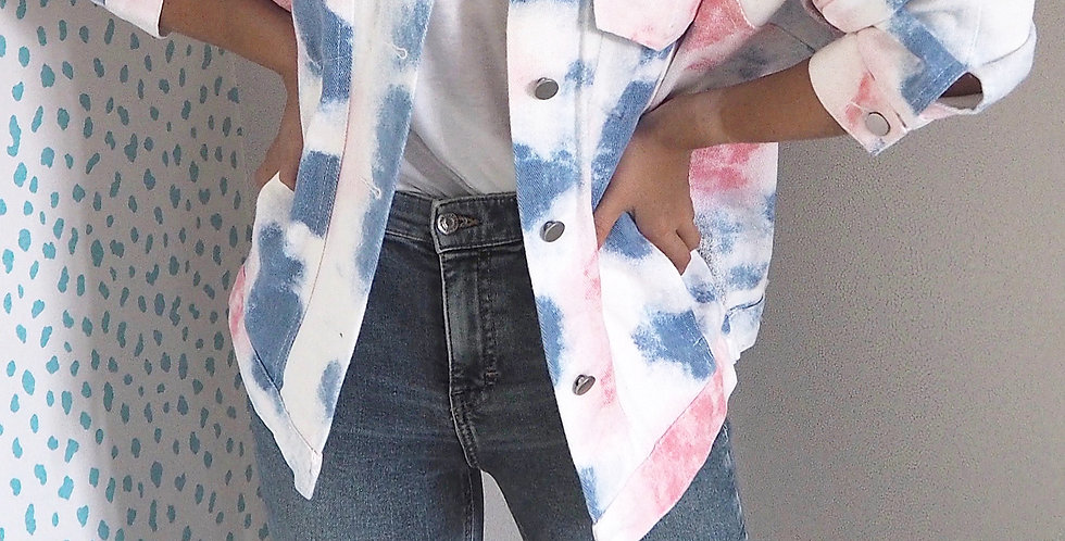 Tie Dye Denim Jacket Blue & Pink