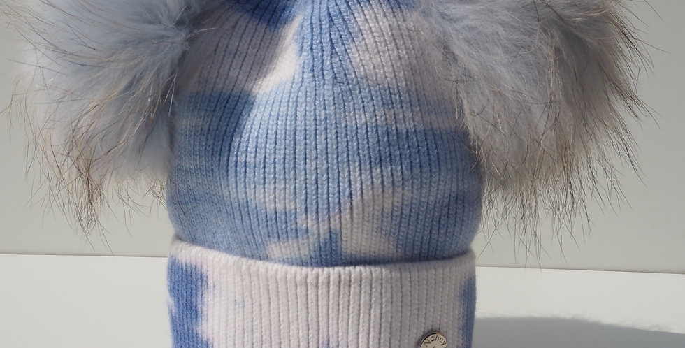 Adults Tie Dye Double Hat Blue and White