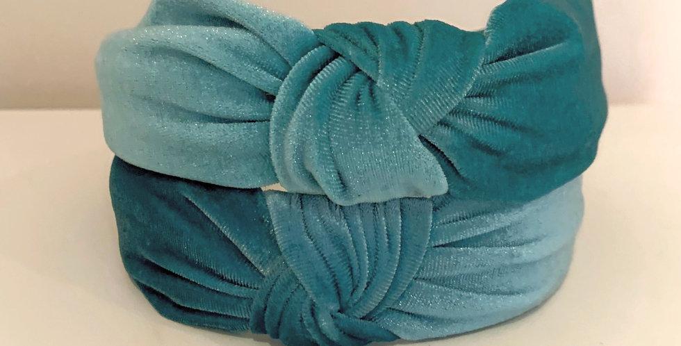 Velvet Knot Headband - Aqua