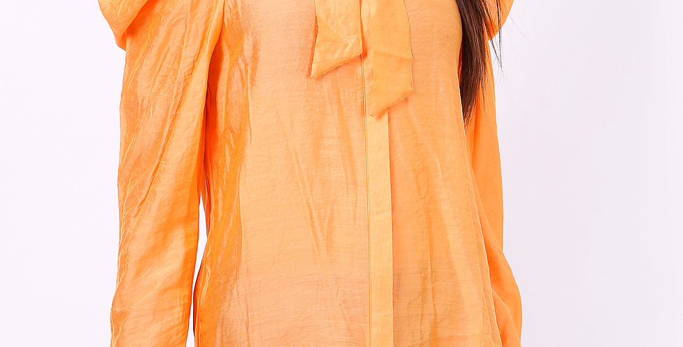 Dollie Exaggerated Shoulder Blouse Orange