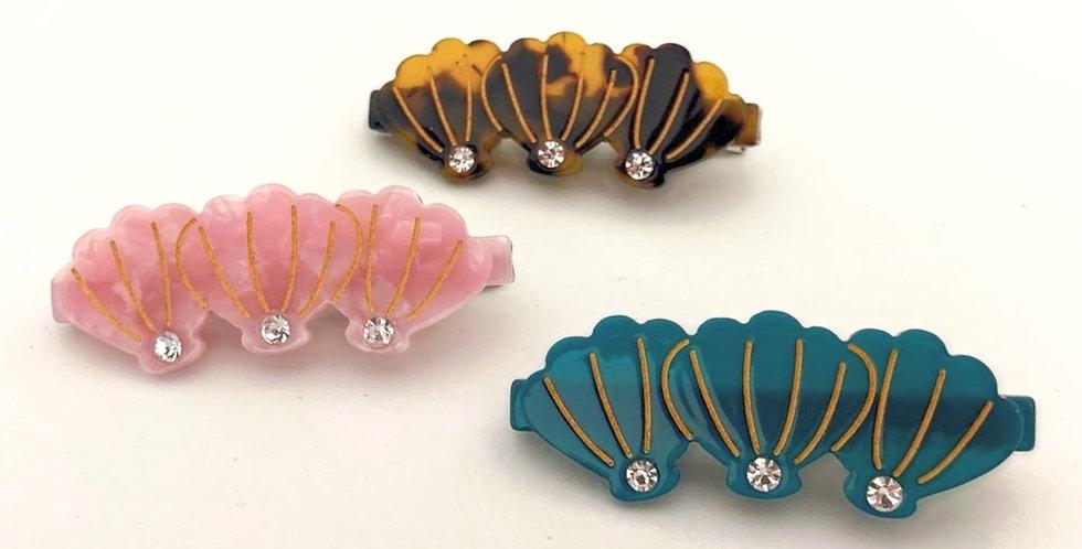 Sea Shells Resin Hair Clips 3 pack