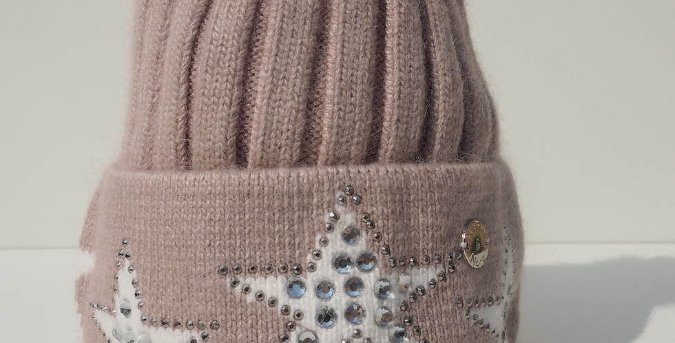 Adults Stars Single Hat Beige and White Stars