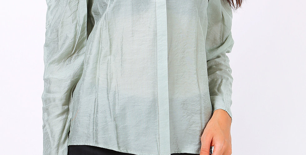 Dollie Exaggerated Shoulder Blouse Sage Green
