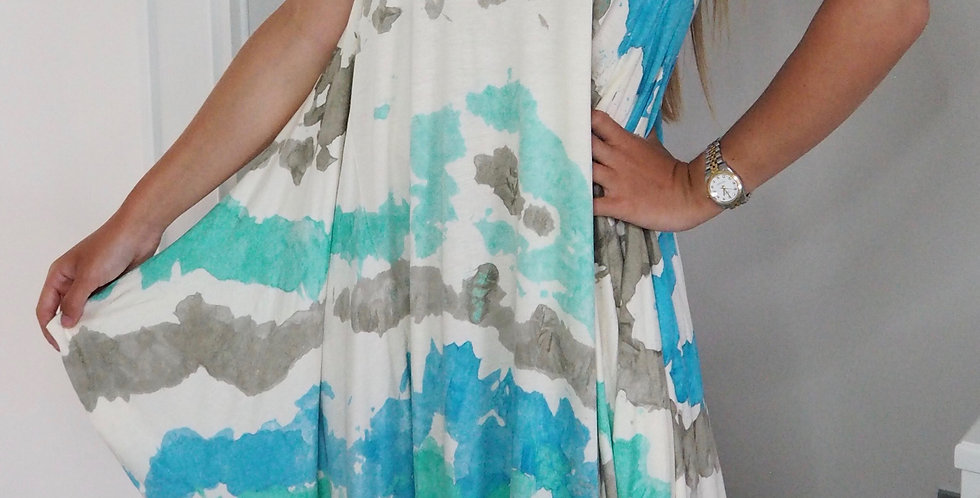 Tie Dye Splash Multiway Dress Turquoise & Grey
