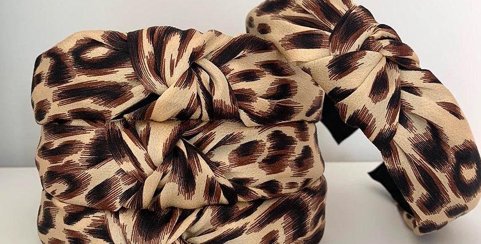 Beige Leopard Knot Headband