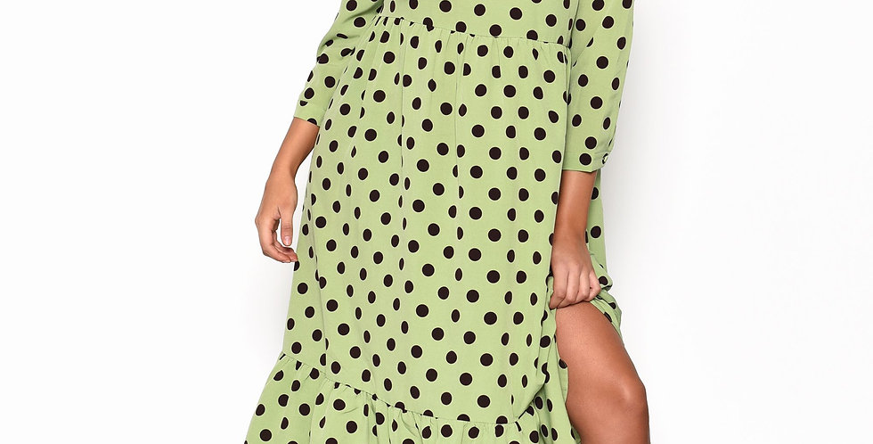 Green & Brown Polka Dot Midi Smock Dress