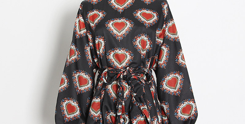 Swing Dress Black & Red Baroque Hearts