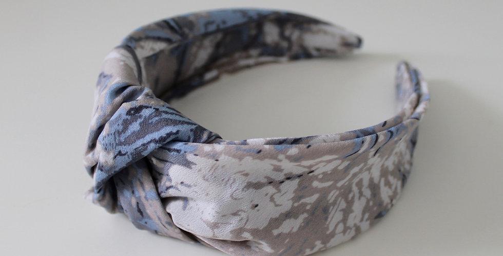 Marble Oversized Knot Headband Blue / Grey