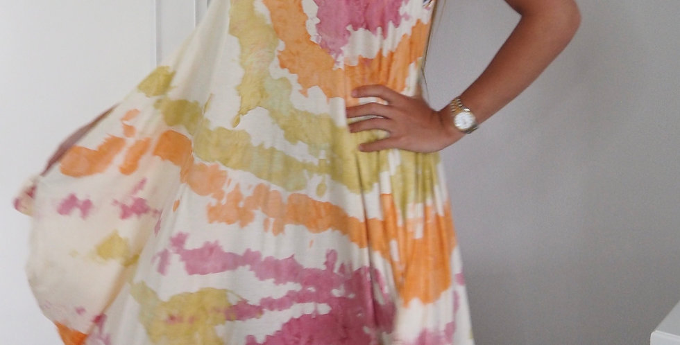 Tie Dye Splash Multiway Dress Pink and Orange