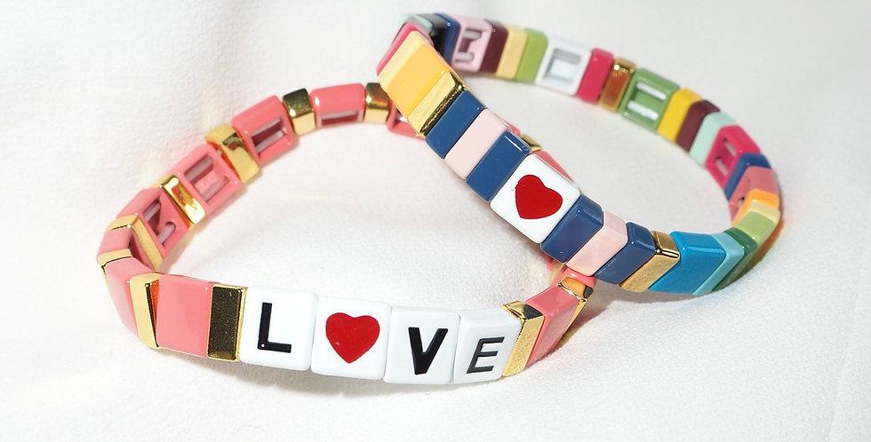 Acrylic Beaded Stacking Bracelets Love Multi
